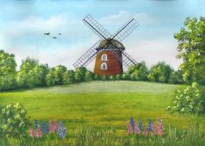 Gemälde einer Windmühle von Rainer Hillebrand alias Pat Harrison