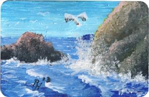 acrylic painting of a seagull near rocks
