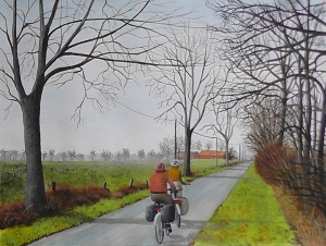 painting of cyclists by Pat Harrison