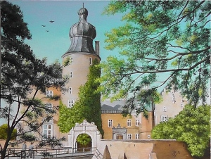 Gemen Castle with a moat painted by Pat Harrison alias Rainer Hillebrand