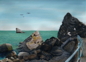 painting of Meadfoot Bay by Pat Harrison