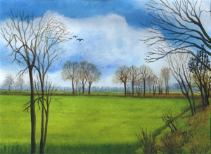 painting of a field by Pat Harrison