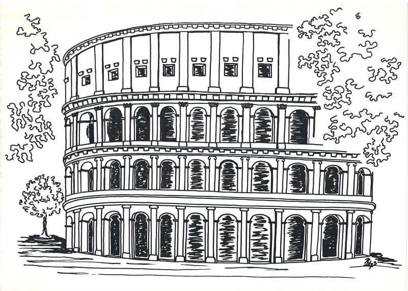 Colosseum, Rome – Ink Drawing