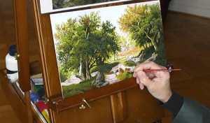 Pat Harrison painting at the Koekkoek Museum